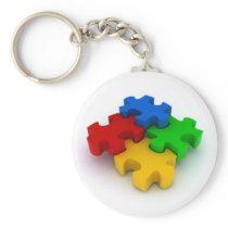 3D Puzzle Pieces Autism Awareness Keychain
