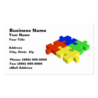 3D Puzzle Pieces (Red, Blue, Green, Yellow) Business Card Template