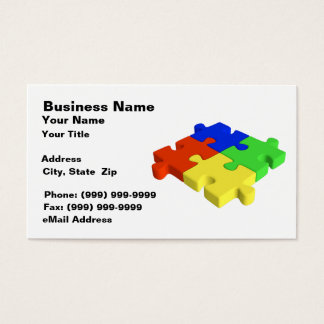 3D Puzzle Pieces (Red, Blue, Green, Yellow) Business Card
