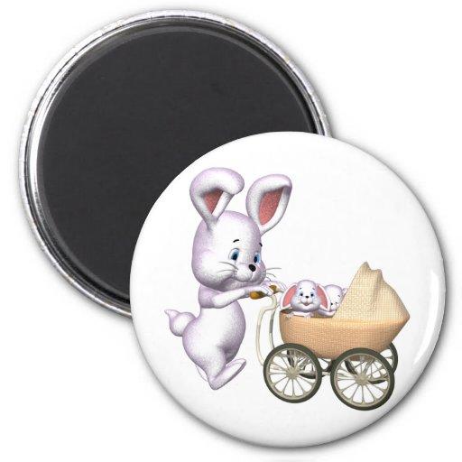 3D Rabbit 2 Inch Round Magnet