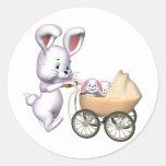 3D Rabbit Classic Round Sticker
