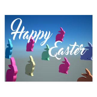 3D Rabbits Happy Easter Tender Pastel Colors Postcard