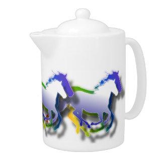 3D racing Horses Teapot