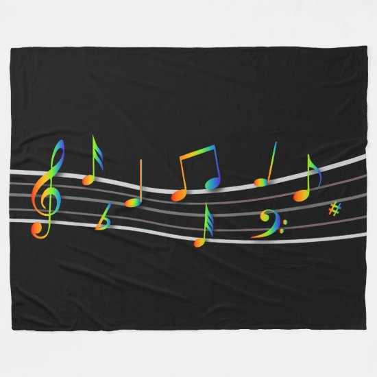 3D Rainbow Musical Notes Score on Black Fleece Blanket