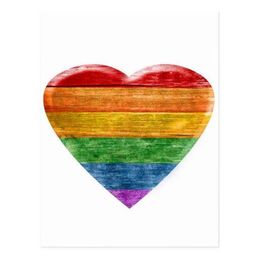3D Rainbow wooden heart Postcard