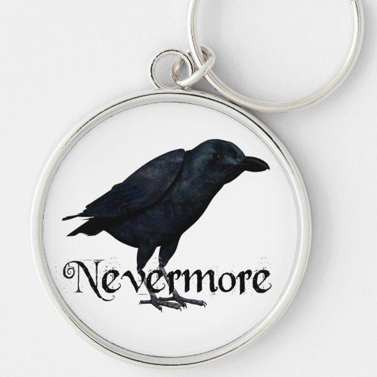 3D Raven nunca más Llavero Redondo Plateado