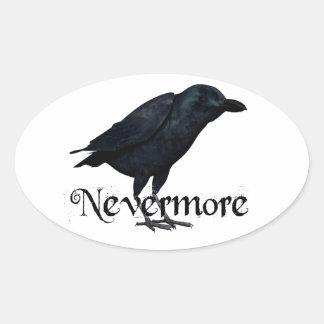 3D Raven nunca más Pegatina Oval