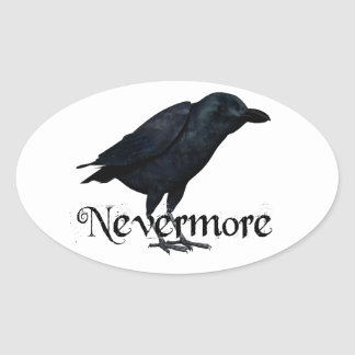 3D Raven nunca más Pegatina Ovalada