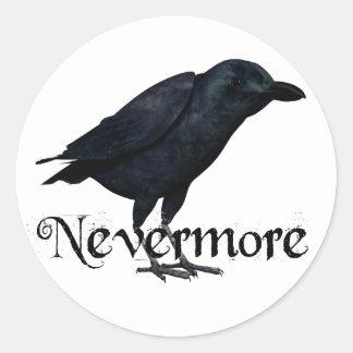 3D Raven nunca más Pegatina Redonda