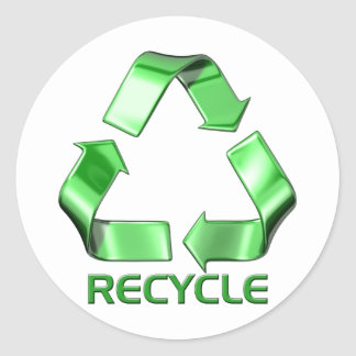 3d Recycle Graphic Classic Round Sticker