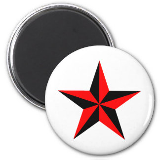 3d Red and Black Beveled Star Magnets