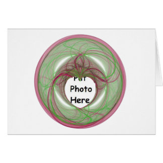 3D Red and Green Circle with Heart Opening Greeting Card
