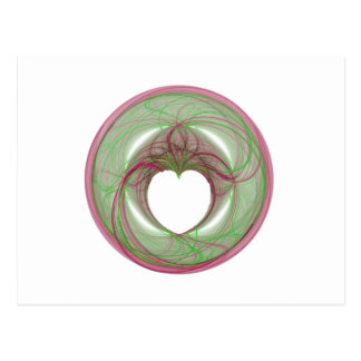3D Red and Green Circle with Heart Opening Postcard