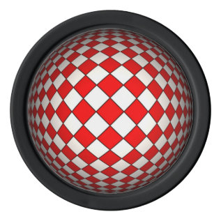 3d Red And White Optical Illusion Poker Chip Set at Zazzle