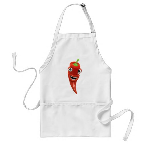 3d Red Chilli Pepper Laughs! (Any Color U Like!) Adult Apron