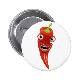 3d Red Chilli Pepper Laughs! (Any Color U Like!) Buttons