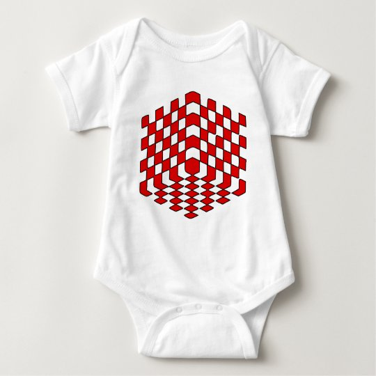 3D Red Cube Optical Illusion Baby Bodysuit