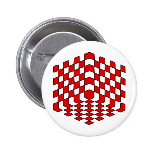 3D Red Cube Optical Illusion Button
