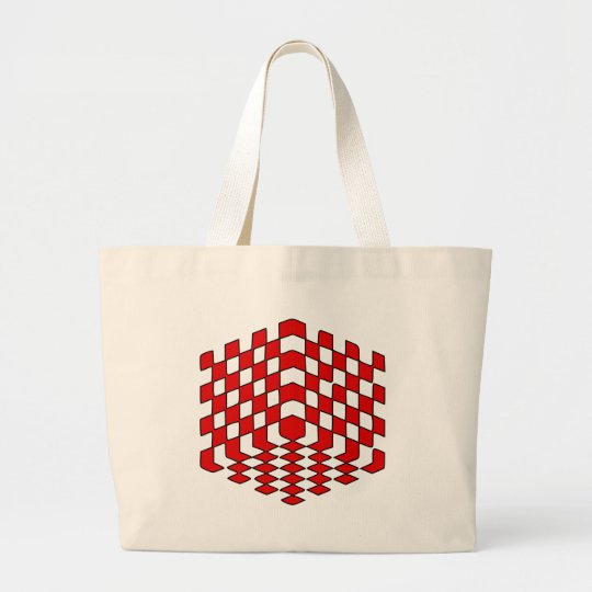 3D Red Cube Optical Illusion Large Tote Bag