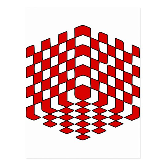 3D Red Cube Optical Illusion Postcard