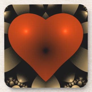3D Red Heart Drink Coaster