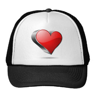 3D red hearth symbol Trucker Hat