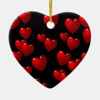 3D Red Hearts Ceramic Ornament
