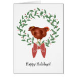 3D Red hen on graphic Christmas wreath/berries Card