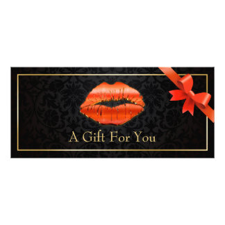 3D Red Lips Beauty Salon Floral Gift Certificate