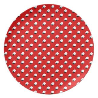 3D Red Polka Dots Melamine Plate