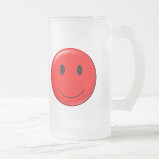 3D Red Smiley Frosted Glass Beer Mug