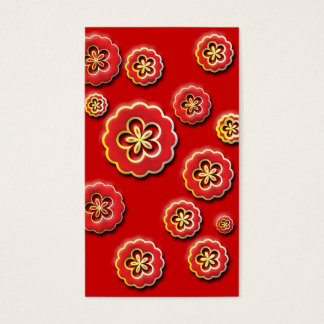 3D red yellow Flowers Business Card