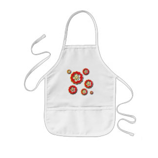 3D red yellow Flowers Kids' Apron
