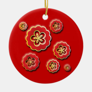 3D red yellow Flowers Christmas Tree Ornament