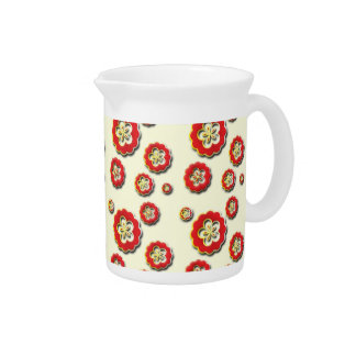 3D red yellow Flowers Beverage Pitchers