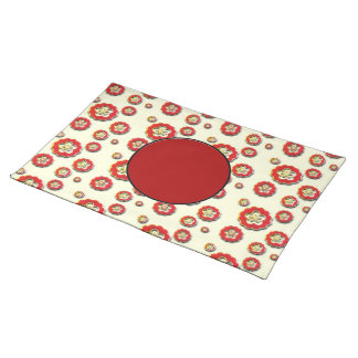 3D red yellow Flowers Placemat