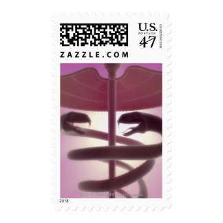 3d rendered medical caduceus stamp
