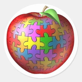3D rompecabezas Apple Pegatina Redonda