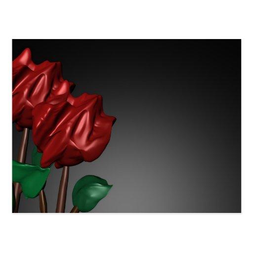 3D Roses Romantic Art Image Postcard