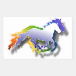 3D Running Horses Rectangular Sticker