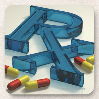 3D RX symbol with capsules Coaster