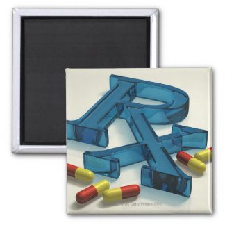 3D RX symbol with capsules 2 Inch Square Magnet