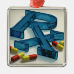 3D RX symbol with capsules Square Metal Christmas Ornament