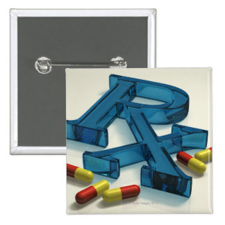 3D RX symbol with capsules Pinback Button