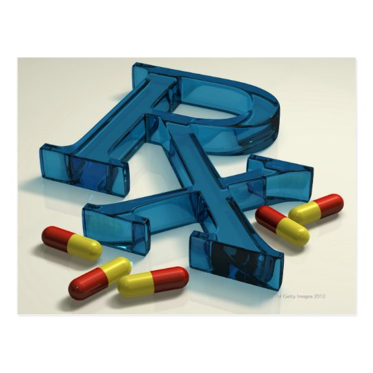 3D RX symbol with capsules Postcard