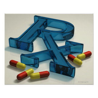3D RX symbol with capsules Posters