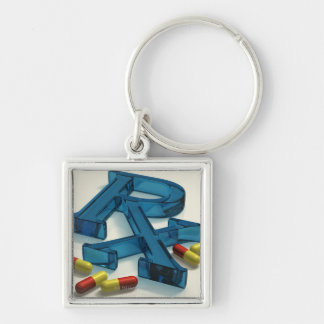 3D RX symbol with capsules Silver-Colored Square Keychain