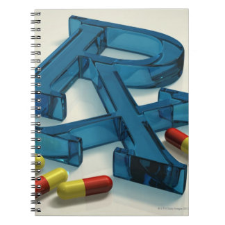 3D RX symbol with capsules Spiral Notebook