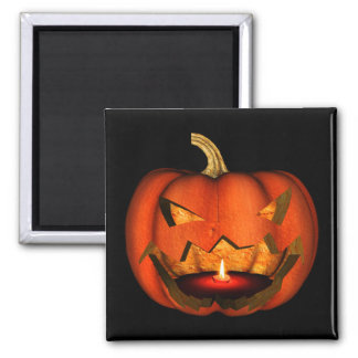 3D SCARY LIT PUMPKIN JACK-O-LANTERN ORANGE MAGNET