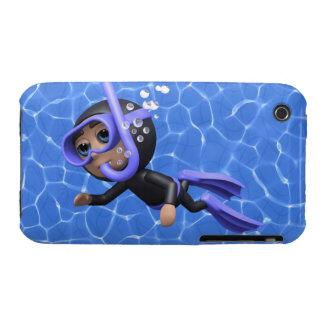 3d Scuba Diver Swimming (Any Color U Like!) iPhone 3 Case-Mate Case